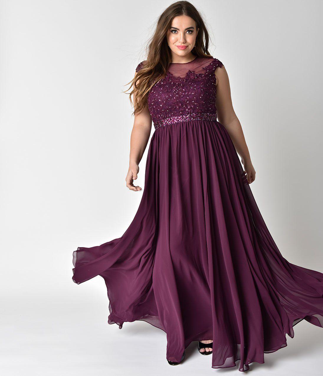 Plus Size Mocha Embellished Lace & Chiffon Cap Sleeve Prom