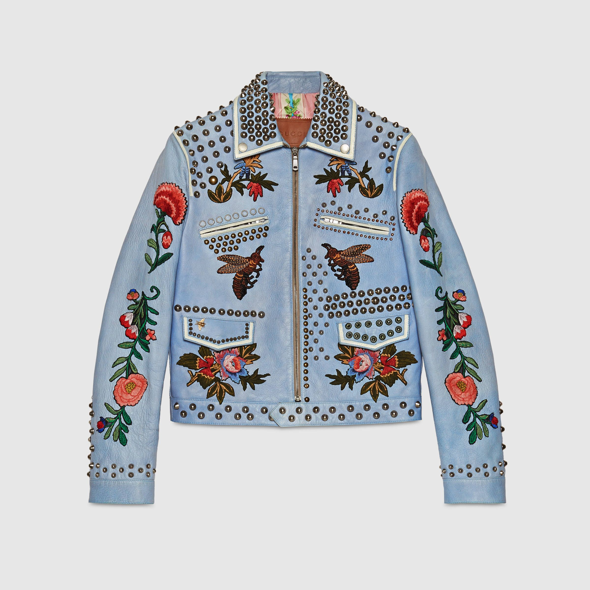 Gucci Embroidered Leather Jacket  fdfc204fca8f