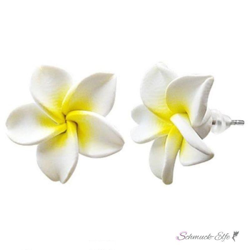 FIMO Blüten Ohrstecker weiß gelb im weißen Organza B
