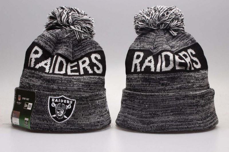 34136180b Men's / Women's Oakland Raiders New Era NFL Sideline Sports Knit Pom Pom Beanie  Hat - Grey / Black