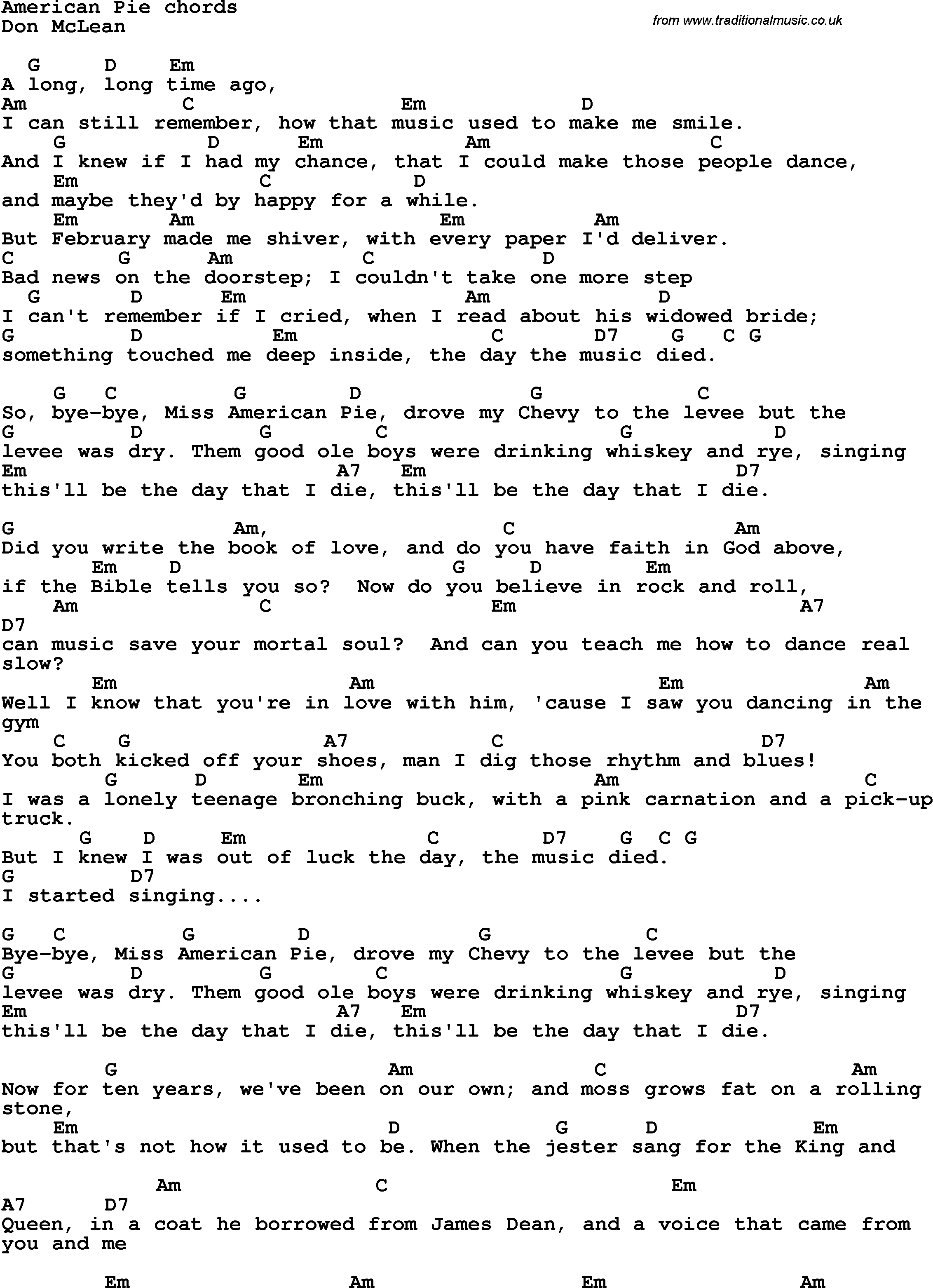 Song Lyrics With Guitar Chords For American Pie Songs Pinterest