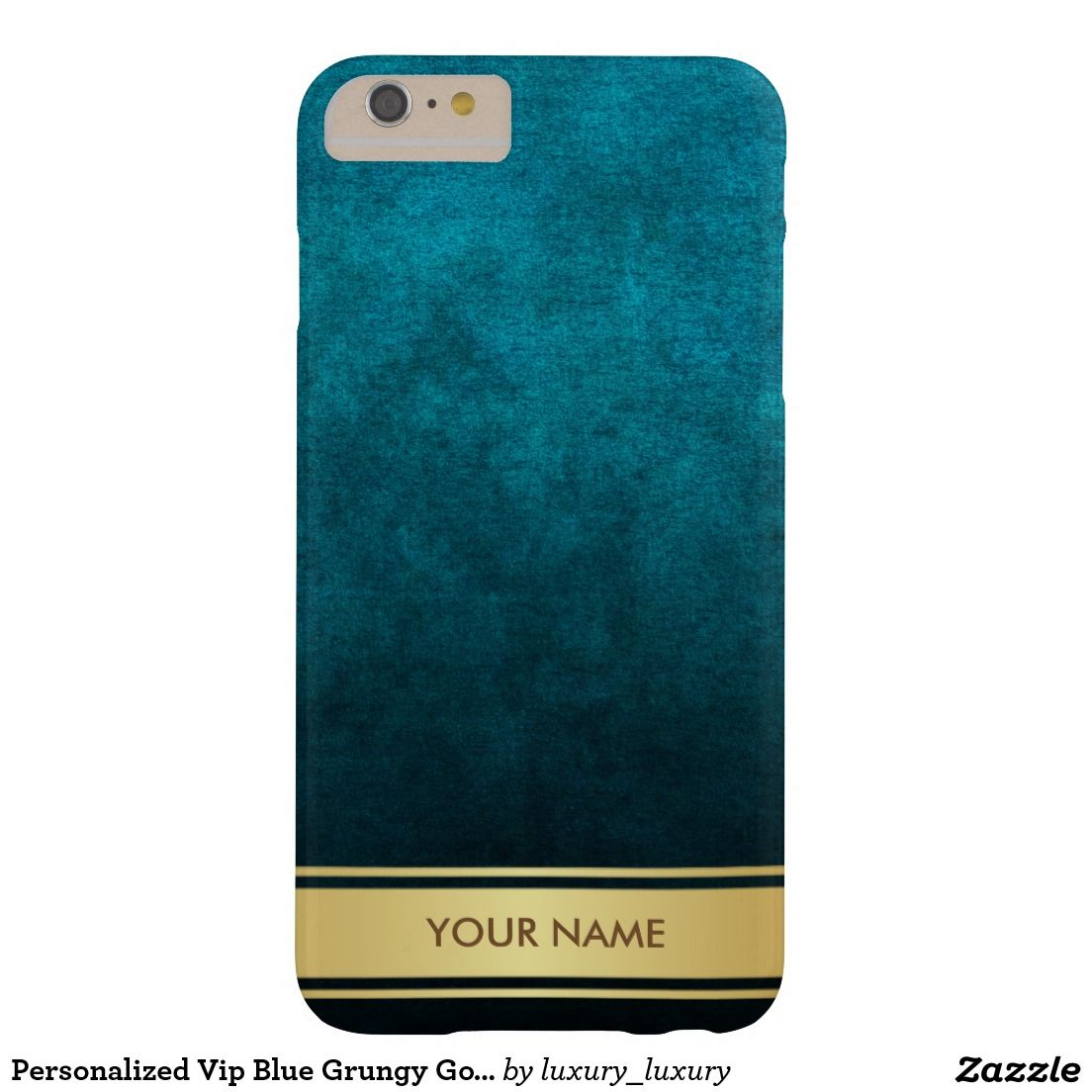 Personalized Vip Blue Grungy Gold Stripes Case Barely There iPhone 6 Plus Case