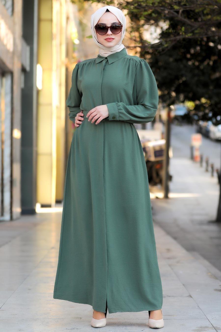 Photo of Neva Style – Kemerli Haki Tesettür Elbise 10062HK – Tesetturisland.com