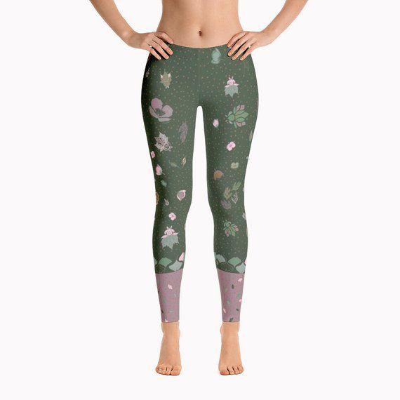 2db2c5bade Olive Green Leggings - Batik Leggings Print Tights Boho Leggings Festival  Pants Unique Gift For Her
