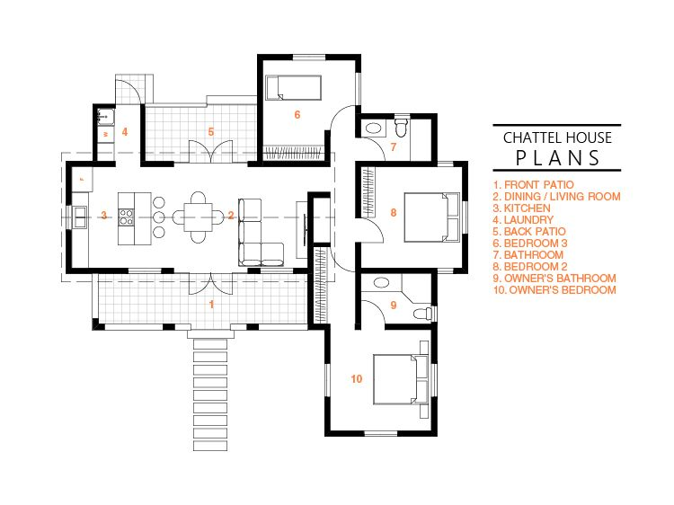 Plan Chp 03 Schematic Plans Chattel House Plans Floor Plan Jamaica House How To Plan House Plans