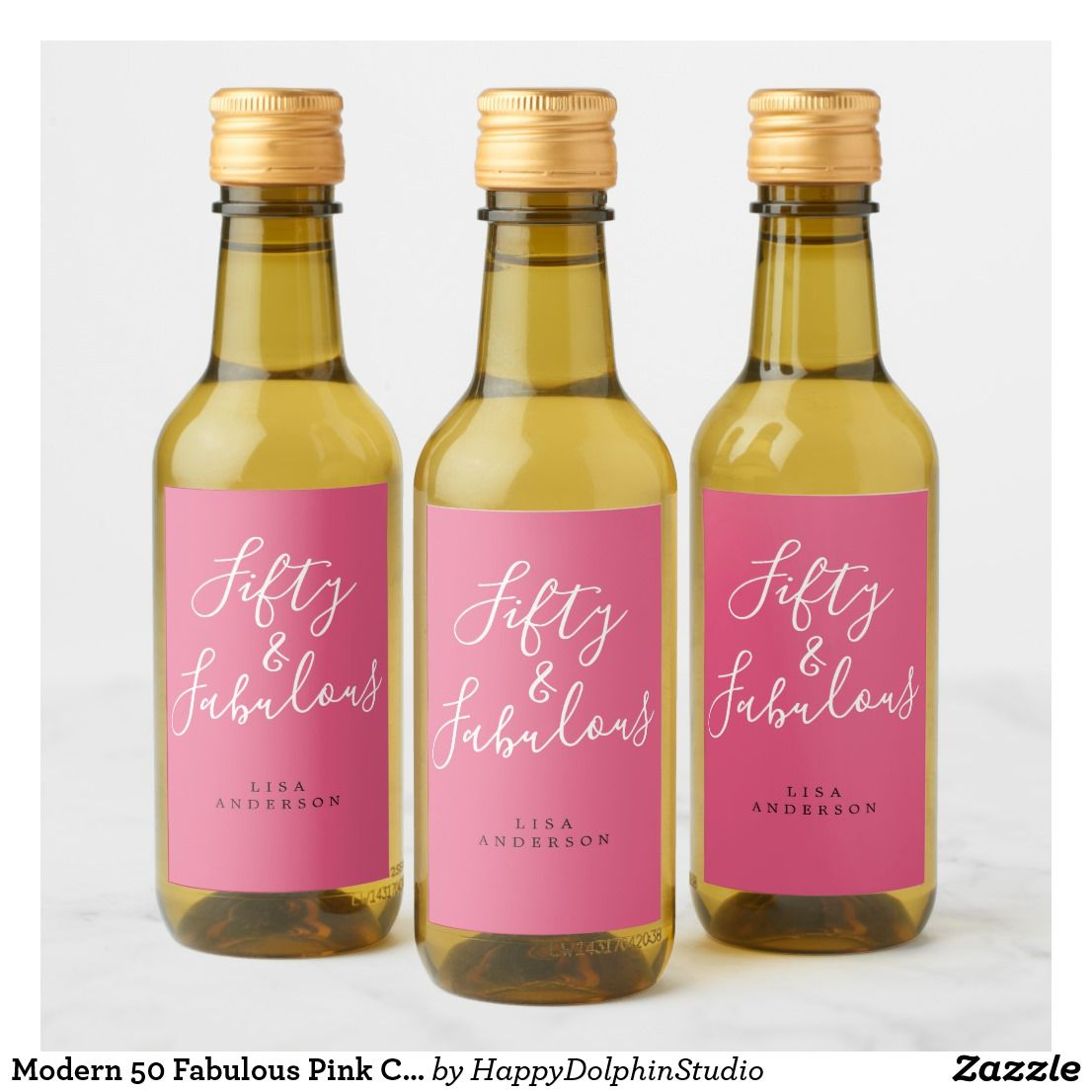 Modern 50 Fabulous Pink Custom Name 50th Birthday Wine Label Zazzle Com Birthday Wine Label 50th Birthday Wine 50th Birthday Wine Label