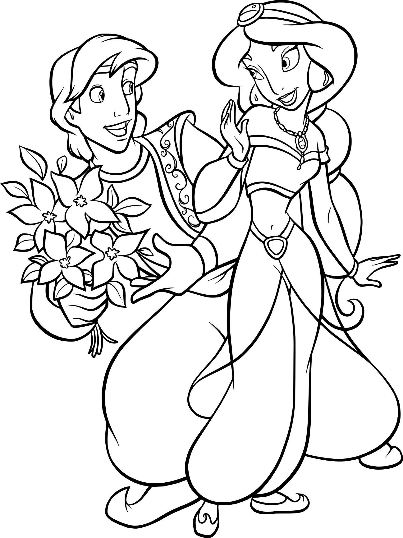 Coloriage Prince Aladdin Et Princesse Jasmine À Imprimer Sur for