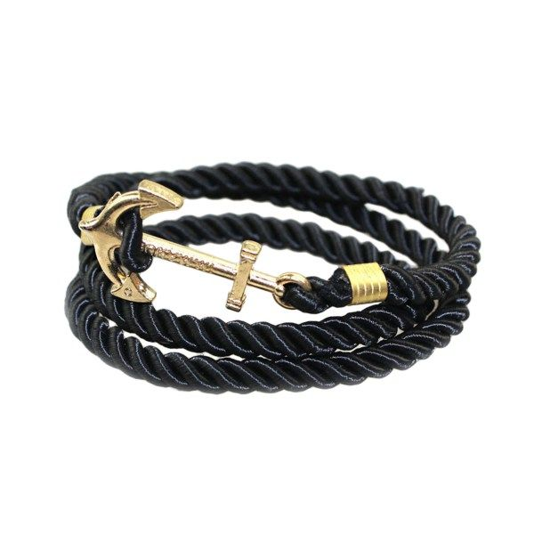 Retro Style Handmade Gold Plated Anchors Cross Shaped with Rope Bracelet