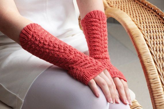 Coral winter fingerless long knit wool wrist warmers knitted cashmere accessories knitting wool arm warmers Mittens Wrist Warmers Chirstmas or cherry