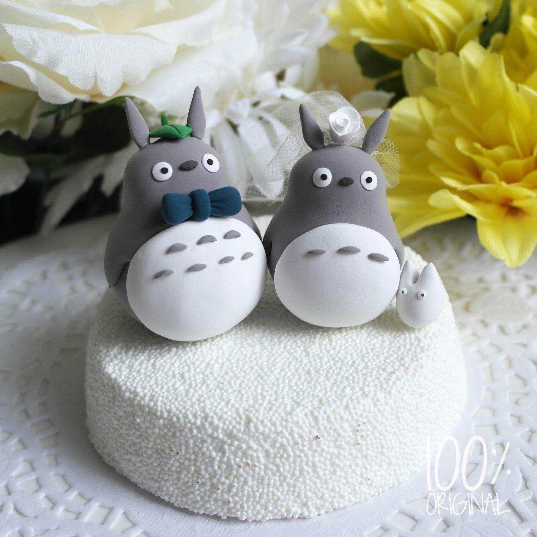 Custom wedding cake topper cute totoro couple wedding