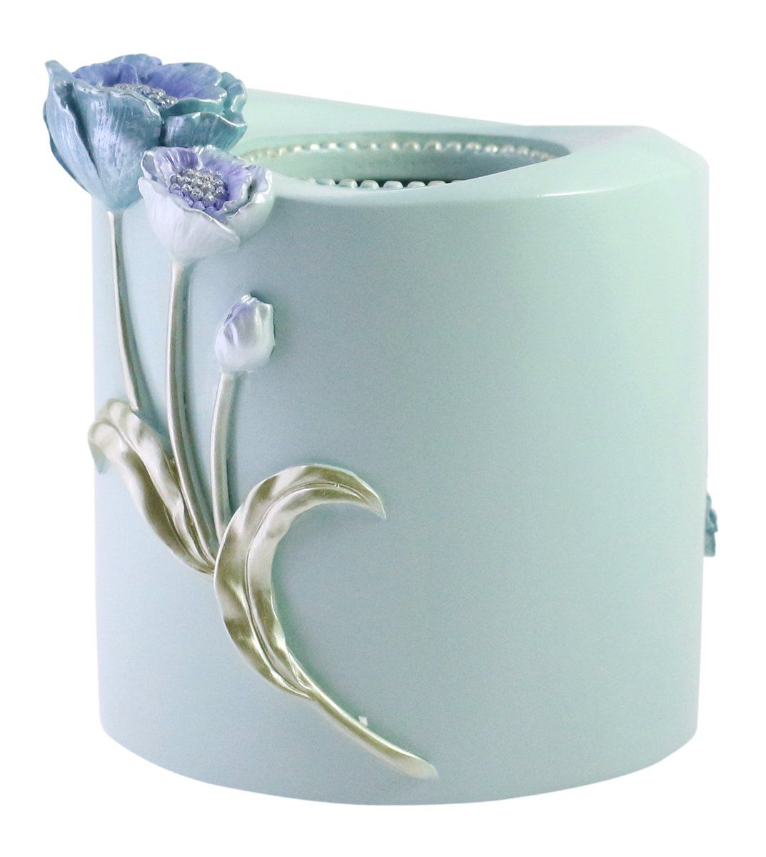 JustNile Decorative Ornamental Vintage Resin Vertical Tissue Holder Box- Blue Round Floral