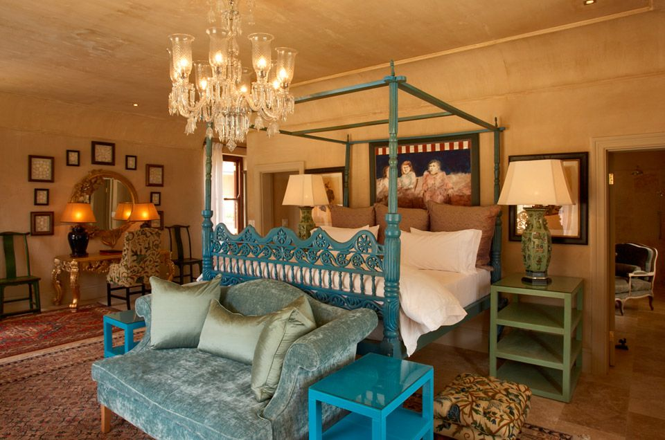 The Hotel | La Residence | The Royal Portfolio. Bright pop of colour combined with the traditional furniture. Fantastic.