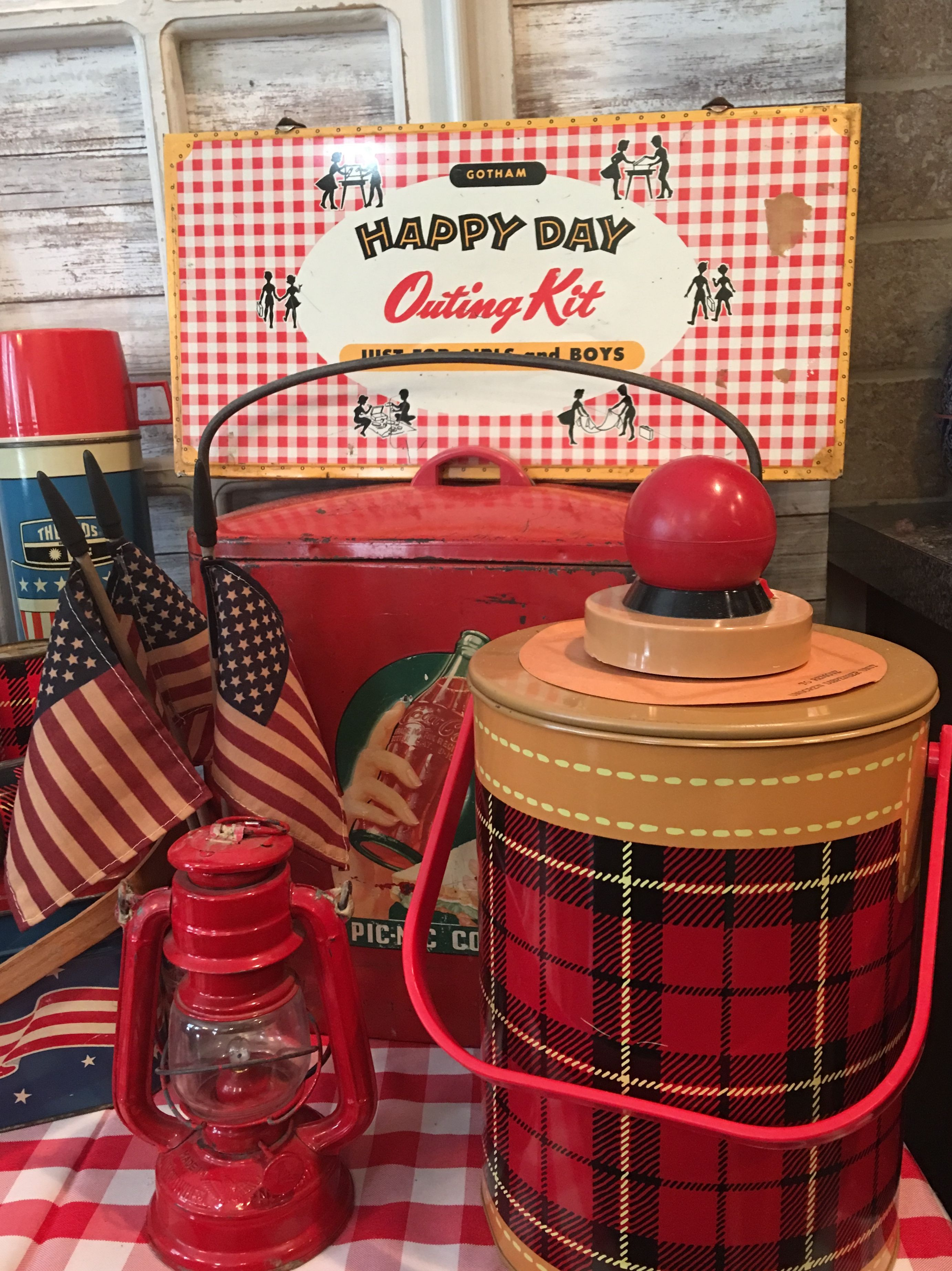 Vintage Tartan Plaid Thermos, 1940S Coca Cola Ice Chest And