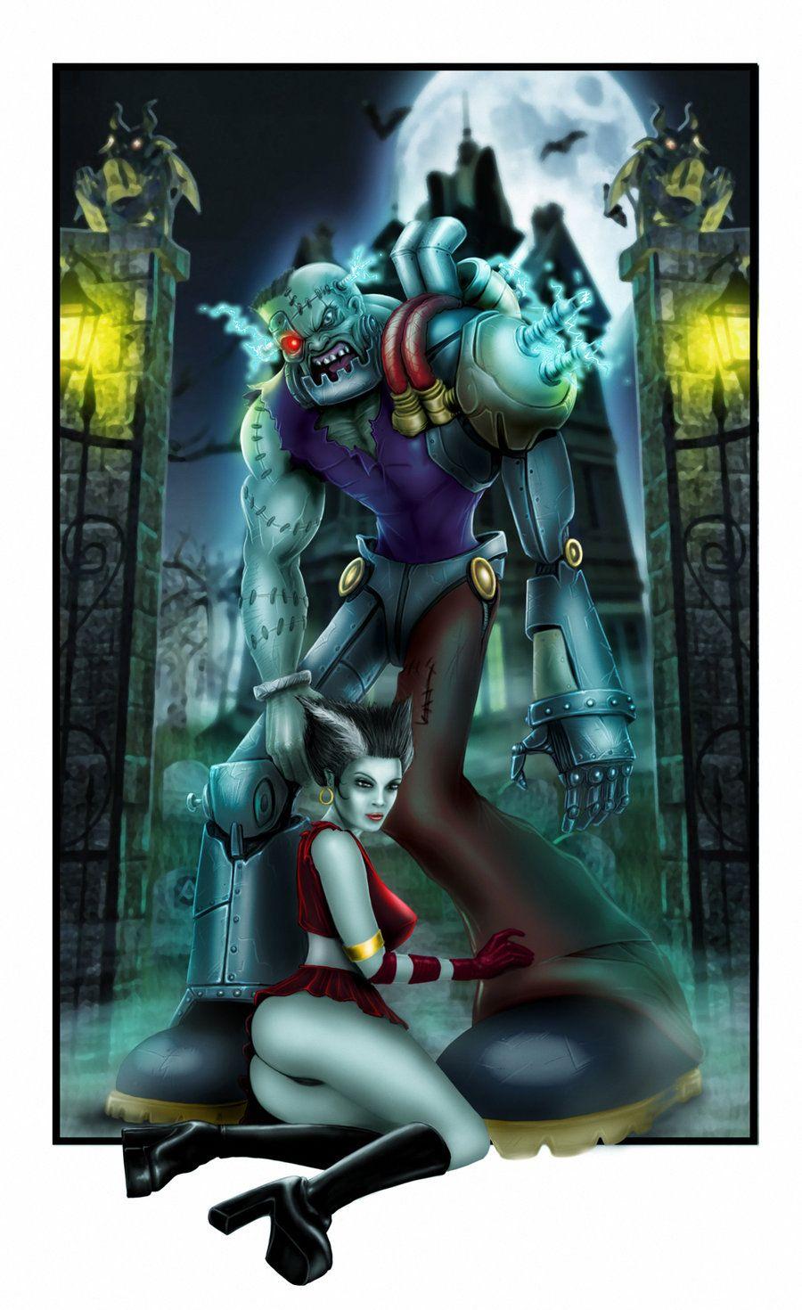 bride of frankenstein artwork deviant | Frankenstein and His Bride by MrWills