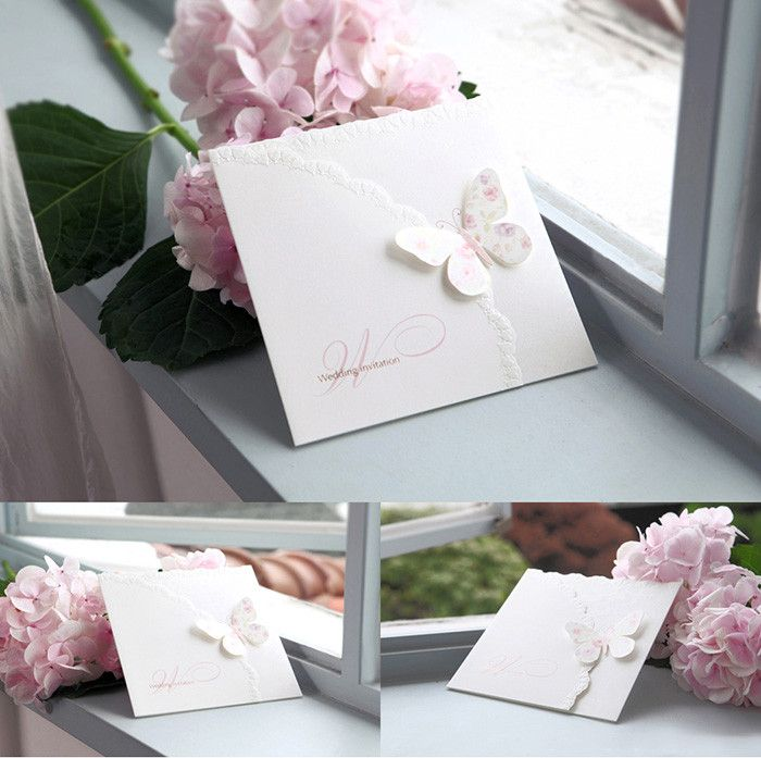 Elegant Laser cut Pink Butterfly Wedding Invitations - BH 1134 ...