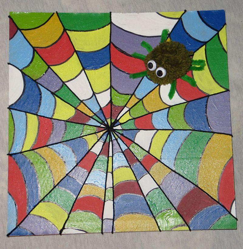 buntes spinnennetz  spinnennetz spinne kreativ