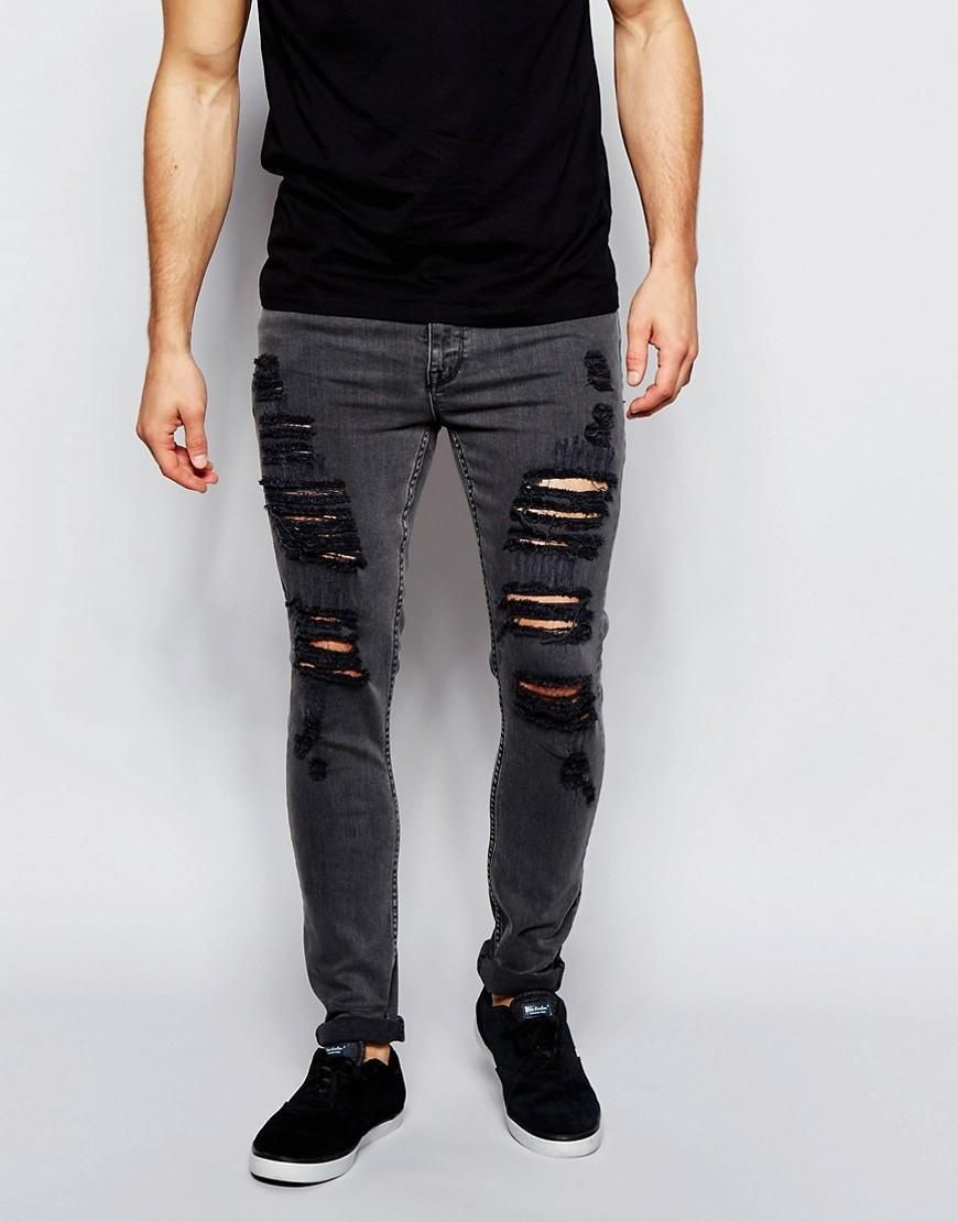 Extreme Super Skinny Jeans In Washed Black With Rips - Washed black Asos iXIvOfnn1