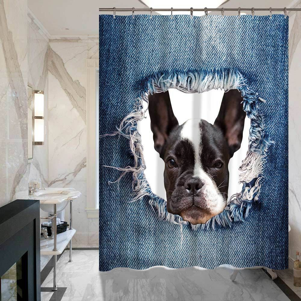 3d Denim Blue Boston Terrier Russian Cat Shower Curtains Bathroom Curtain Price 2763 FREE Shipping Pets Dog Doglovergifts