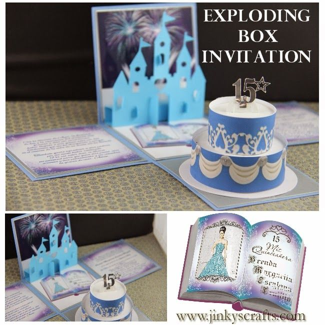 jinky's crafts & designs: disney quinceanera exploding box, Birthday invitations