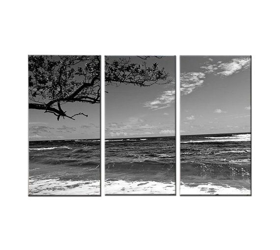 Respect canvas art 3 panel black and white beach tropical surfing waves ocean water barrel trees home decor by joelle joy pinterest water