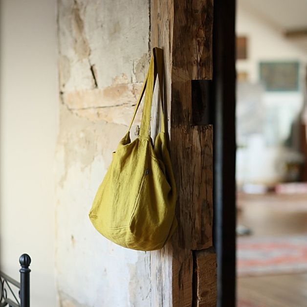 Handbag – Citrine Linen Beach Bag Lara – a unique product by LinenMe on DaWanda