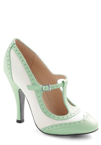 753e42b77983ce Specialty Sweets Heel in Mint - White, Mint, Solid, Cutout, Vintage  Inspired, 20s, 30s, Pastel, Exclusives, High, Leather