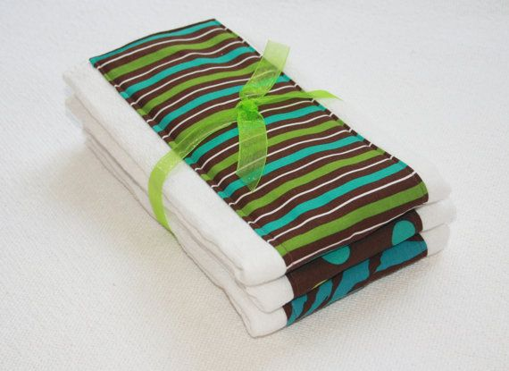 Cloth Diaper Burp Cloths Set of 3 Brown Green Teal by mypoplin, $14.00