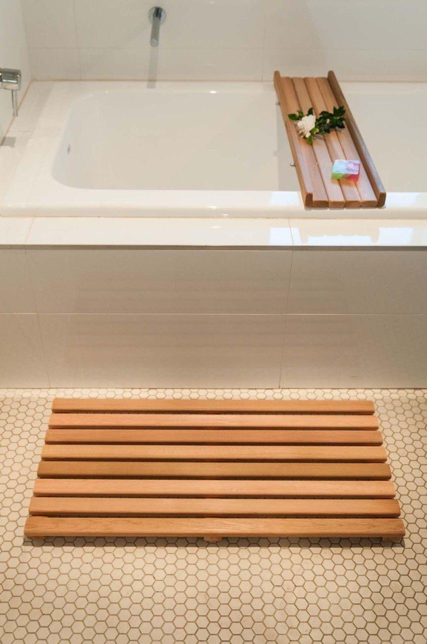 Bathroom floor caddy - Cedar Bath Mat And Bath Caddy Set