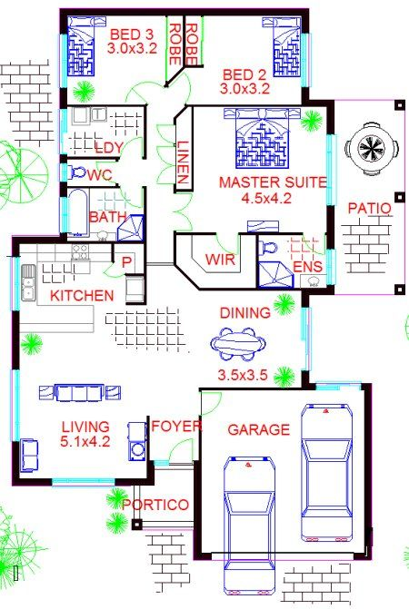 Narrow lot house plan 3 bed 2 bath double garage 3 for House plans 3 car garage narrow lot