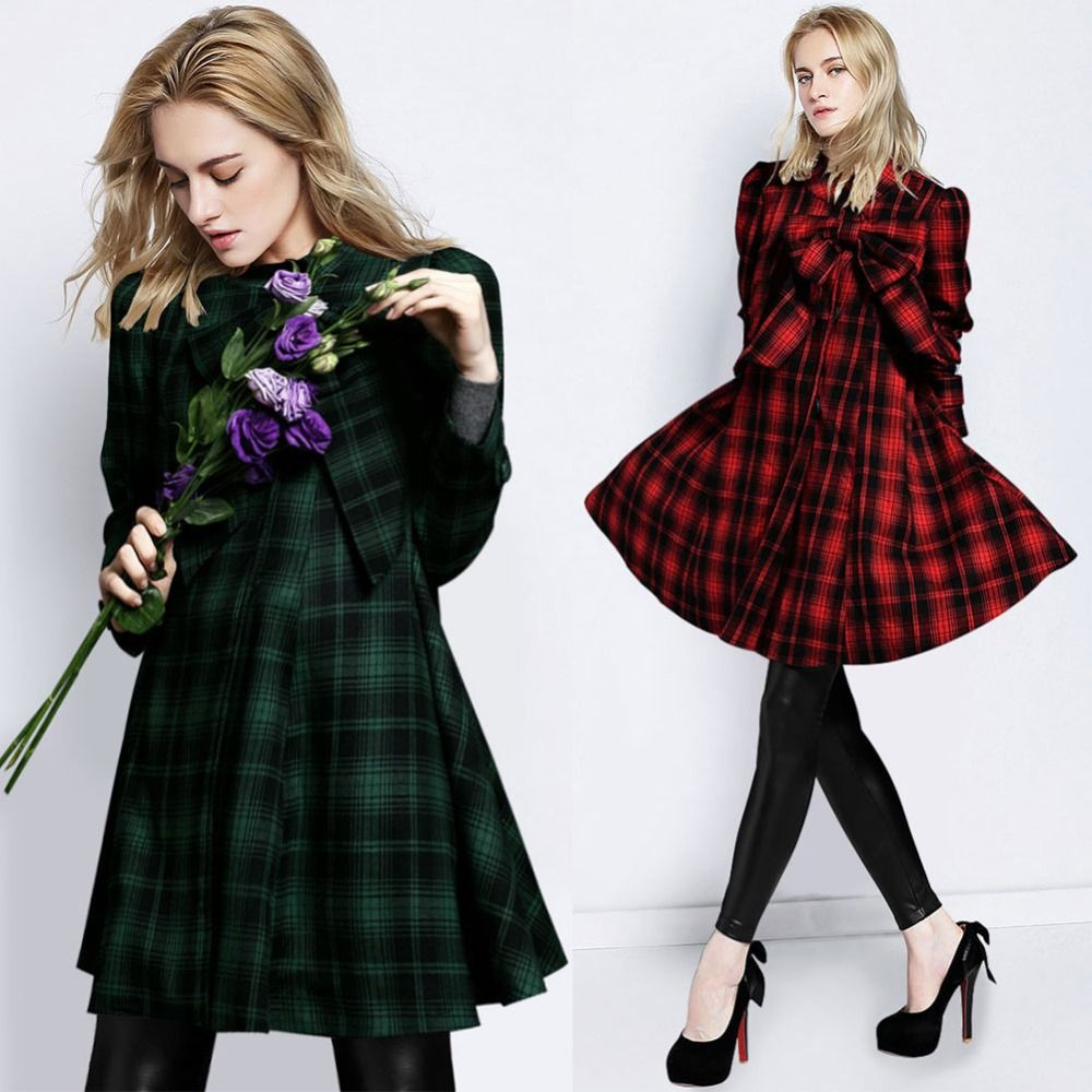 Ladies green tartan coat