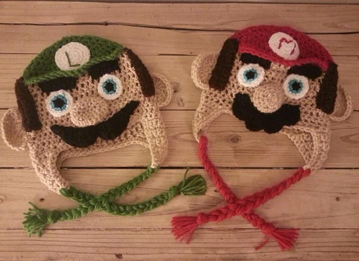 Super Mario Bros Luigi Crochet Hat Mario Crochet Hat Happy