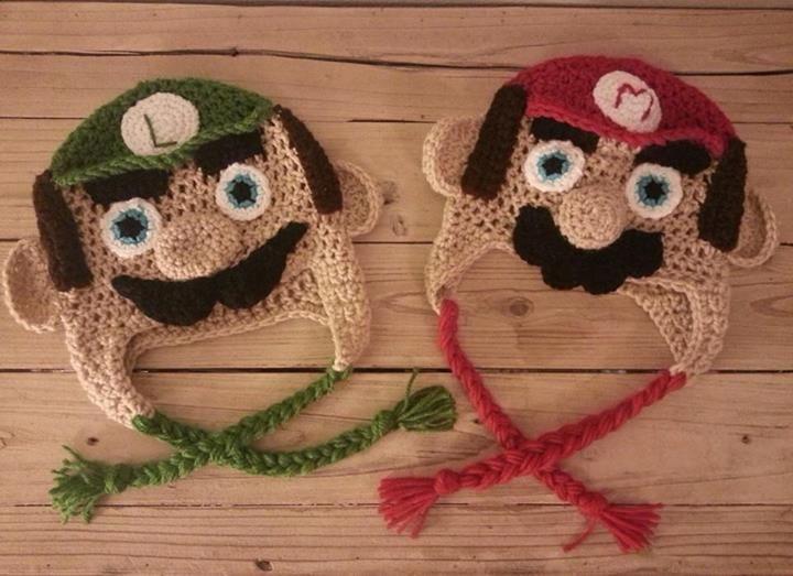 Super Mario Bros. Luigi crochet hat. Mario crochet hat.