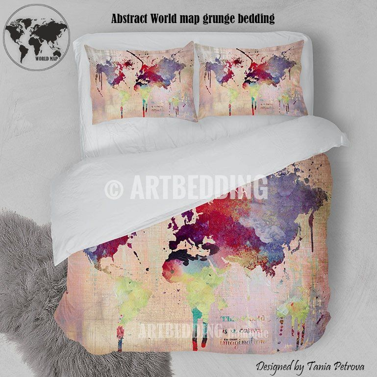 Boho chic duvet set world map abstract splashes bedding world boho chic duvet set world map abstract splashes bedding world map art duvet cover set bohemian duvet cover set dorm bedding gumiabroncs Images