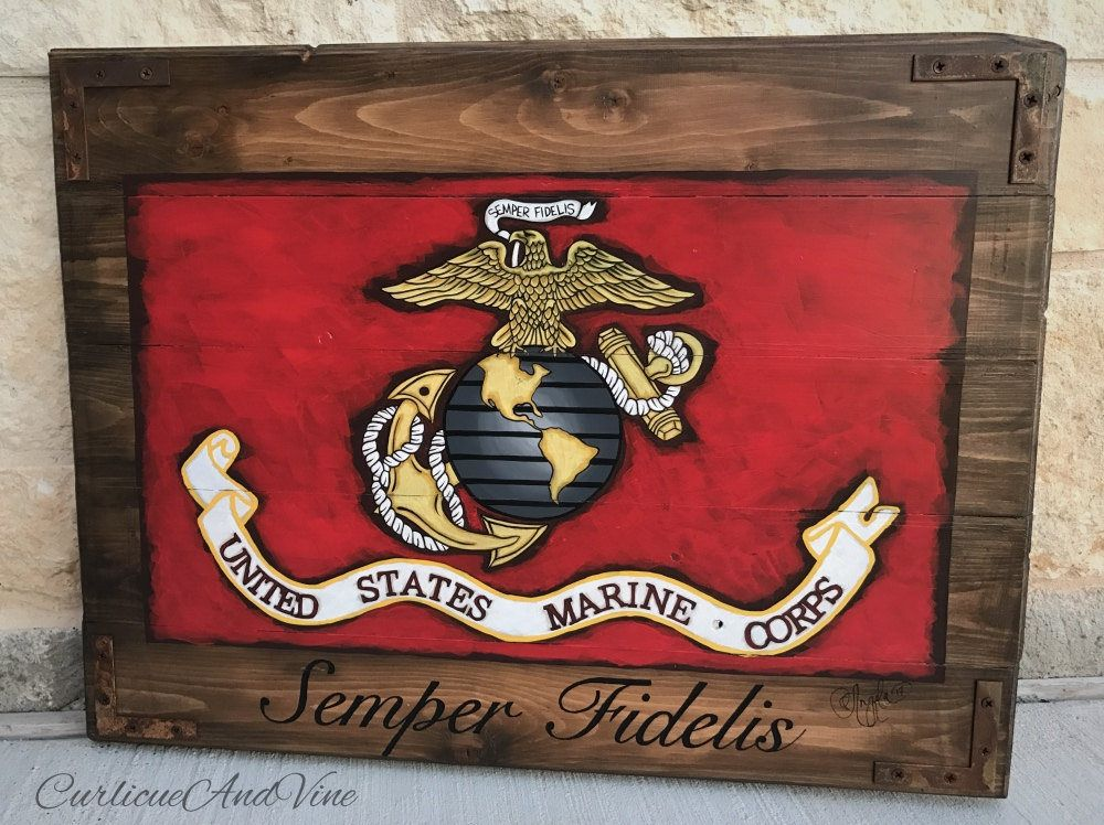 United States Marine Corps Flag Usmc Pallet Board Military Semper Fidelis Art Rustic Barnwood Man Cave Flags Reclaimed Wood Hand Usmc Gifts Usmc Man Cave Flags