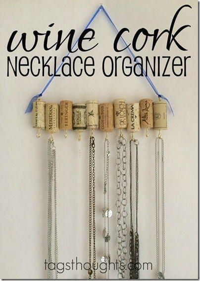 DIY Jewelry Organizer: 16 Brilliant Storage Ideas | Kenarry - Wine Cork Necklac...