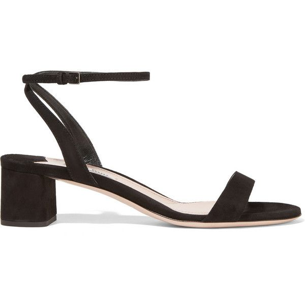 Miu Miu Suede sandals ($535) ❤ liked on Polyvore featuring shoes ...
