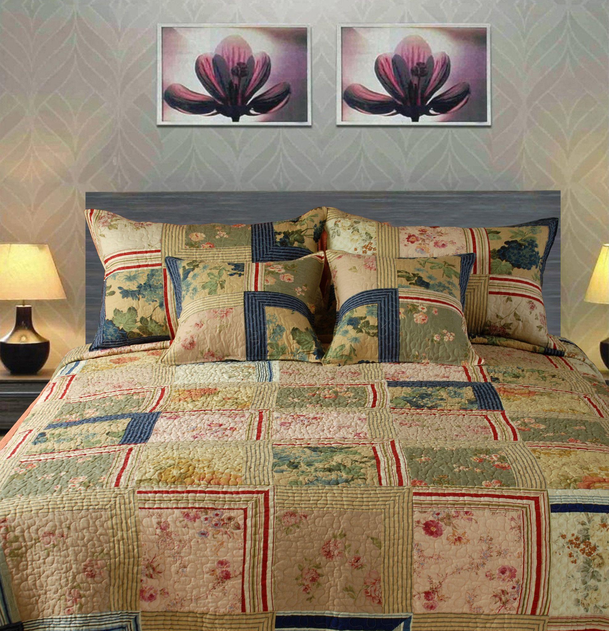 Tache 5 Piece 100% Cotton Japanese Emperor\'s Garden Patchwork Quilt ...