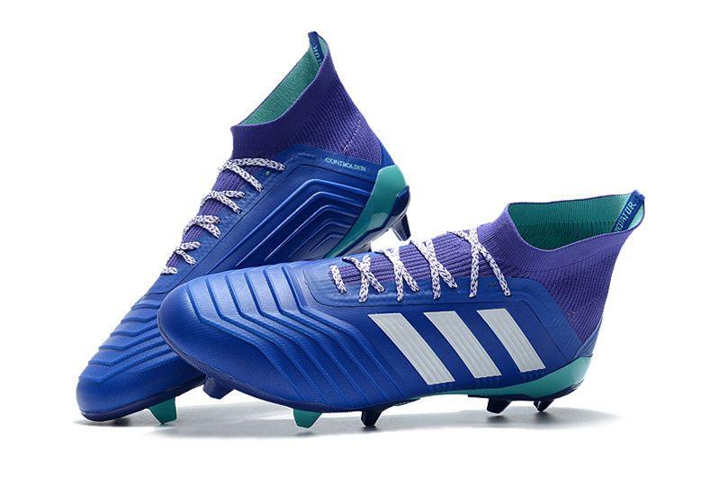 Botas de fútbol adidas Predator 18.1 FG - Azul Blanco  8576e4015041c