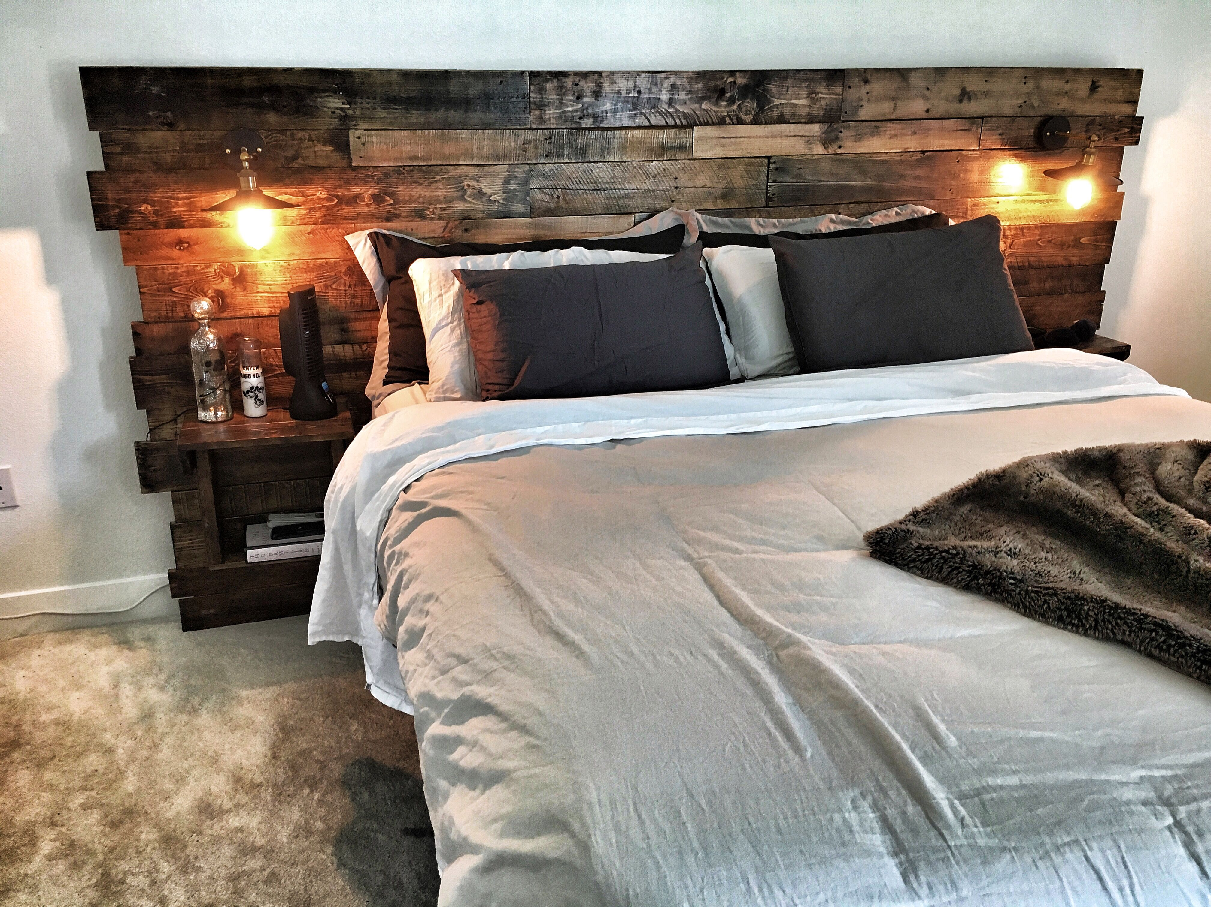 Custom King Size Headboard With Built In Lights And Shelving. Natural  Rustic Wood With Oil