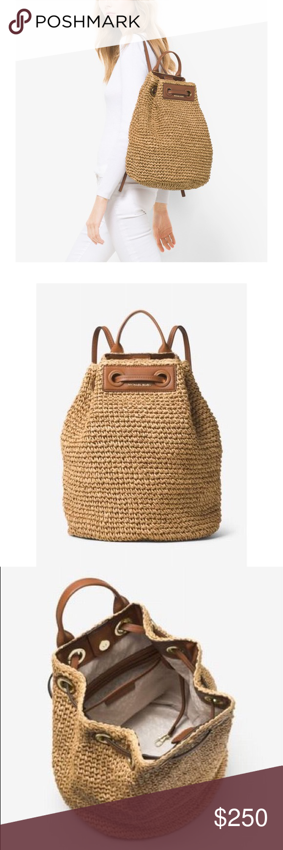 947d5d533aa61f Michael Kors Krissy Straw Natural Backpack This season, we've reimagined  the backpack in