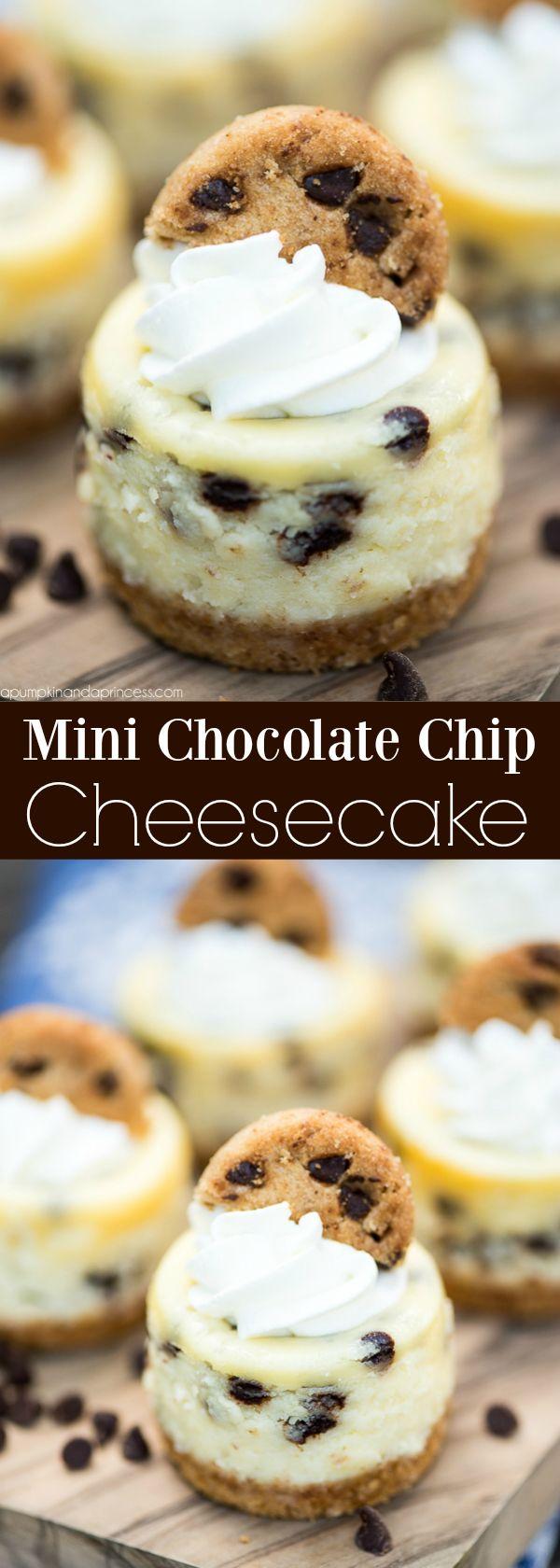 Mini Chocolate Chip Cheesecakes #cheesecakes