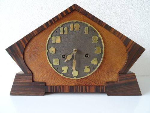JUNGHANS-Antique-German-WW2-Wurttemberg-Shelf-Mantel-ART-DECO-Clock-Hermle-era