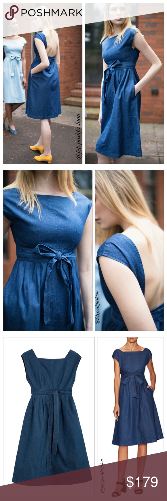 """Urban Outfitters Courtshop Denim Anita Midi Dress Urban Outfitters Courtshop Denim Anita Midi Dress Charming chambray midi dress from better-than-basic denim label Courtshop, the Anita dress features a fitted, backless sheath bodice + cinched tie-waist. Fit with mid-length A-line skirt that tapers out for a classic feminine silhouette. Fully lined.Content + Care- Cotton- Machine wash- Imported Size + Fit- Model is wearing size Small- Measurements taken from size Medium- Chest: 32""""- Length…"""