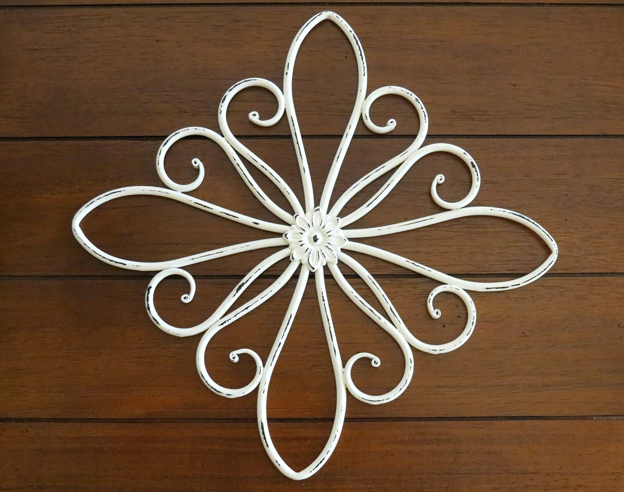 Metal scrolled wall hanging metal wall decor antique white or