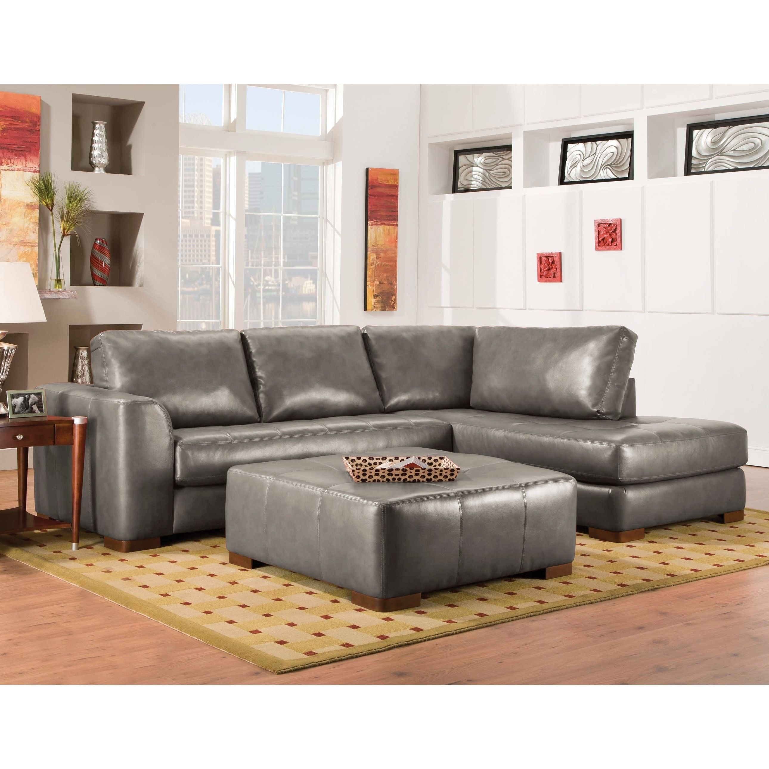 Marvelous Sofatrendz Bonded Leather Sectional And Ottoman Set Brown Spiritservingveterans Wood Chair Design Ideas Spiritservingveteransorg
