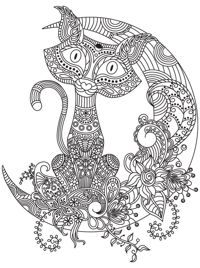 Pin de Barbara en coloring cat | Pinterest | Mandalas, Gatito para ...