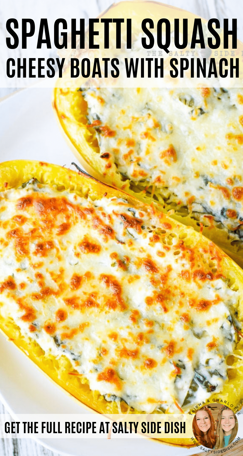 Spaghetti Squash Boats : Easy Cheesy Recipe | Salty Side Dish #stuffedspaghettisquash