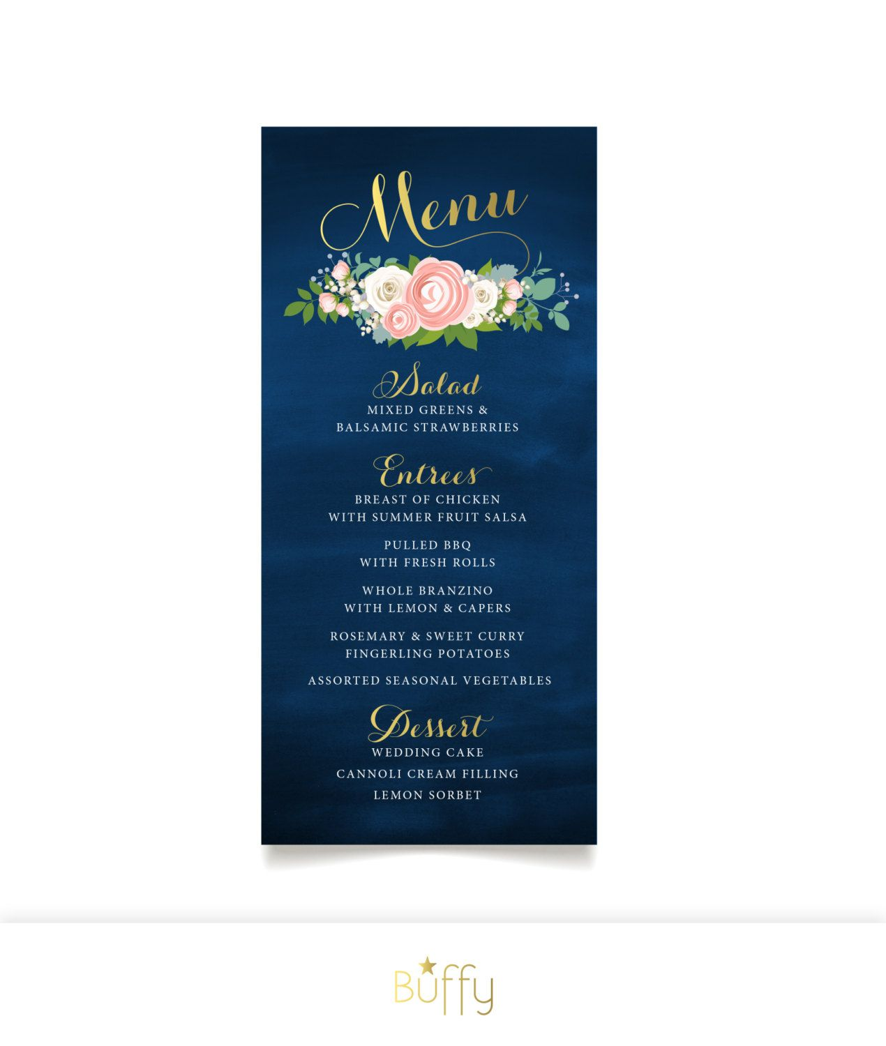 The Jenny Menu Card Gold Calligraphy Navy Chalkboard White