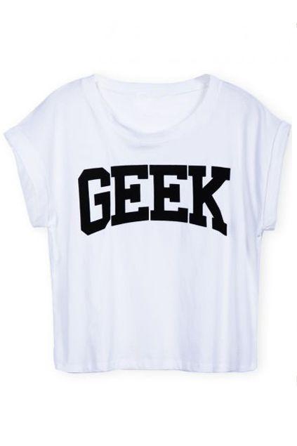 ROMWE | GEEK Print Midriff-baring White T-shirt, The Latest Street Fashion