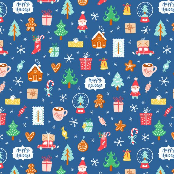 Kawaii Christmas Fabric  Winter Holidays Symbols By by Spoonflower